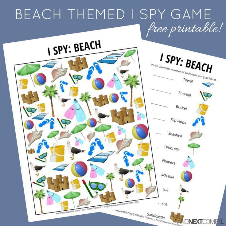 Beach Themed I Spy Game {Free Printable for Kids} | Beach Theme ...