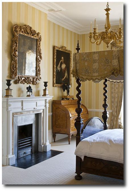 Late Georgian Period Striped Wallpaper English Country Decor - Georgian style bedroom furniture