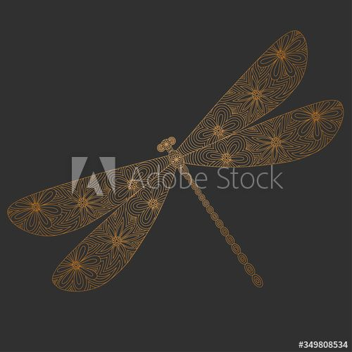 Golden silhouette of a dragonfly on a gray background.Vector illustration. Linear style. Hand drawn. Decorative lace insect for your design. #AD , #background, #Vector, #illustration, #gray, #Golden