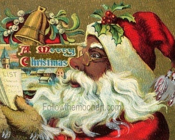 Vintage African American Black Santa Claus Christmas Wall Art Ftma Christmas Wall Art Black Santa Christmas Paintings