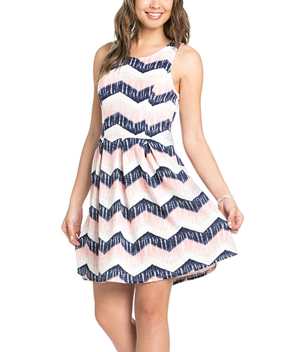 Love this Ezra Navy & Pink Zigzag Sleeveless Fit & Flare Dress by Ezra on #zulily! #zulilyfinds
