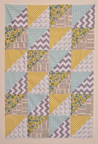 Great HST tutorial for sewing and cutting eight half square triangles at a time from 2 fat quarters