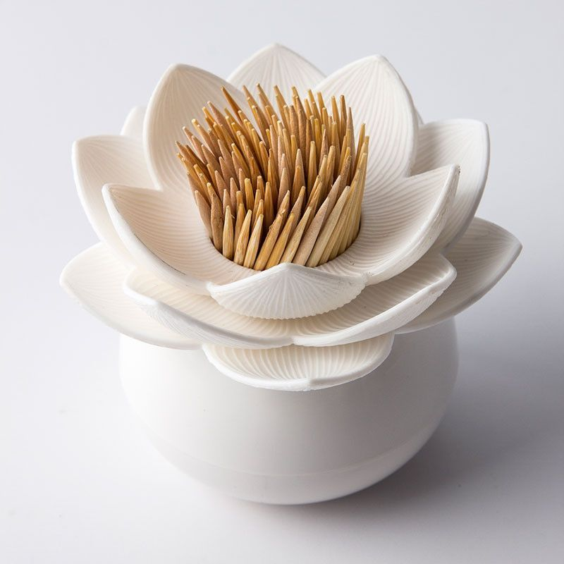 Lotus Pick Toothpick Holder (White) By Qualy
