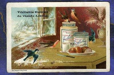Chromo Liebig S154 winter scene nature morte Hiver HIRONDELLES swallow 1883