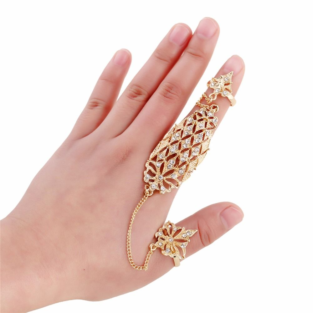 Click to Buy << Fashion Rings Set Women Golden Plated Flower with ...