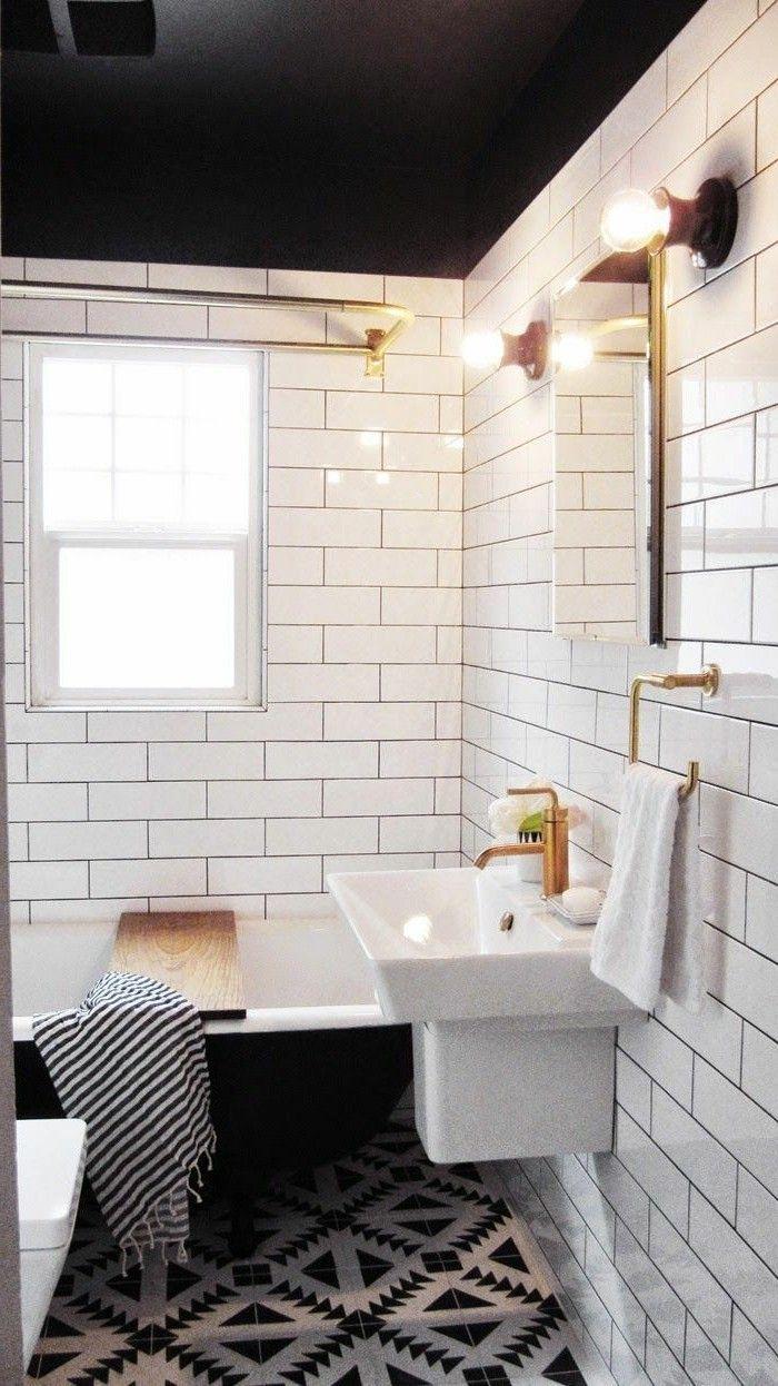 salle-de-bain-noir-et-blanc-baignoire-noire-vasque-blanc-jolies ... - Image Salle De Bain Noir Et Blanc