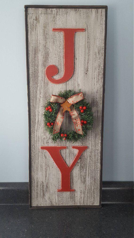 vertical rustic joy sign country christmas decor christmas mantle decor barn wood look christmas sign xmas crafts pinterest barn wood - Xm Country Christmas