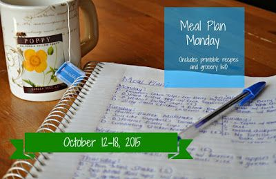 Darcie's Dishes: Meal Plan Monday: 10/12-10/18/15 // A one week meal plan that uses ingredients that you can find at any grocery store. This meal plan includes all meals, snacks and drinks as well as a printable shopping list.