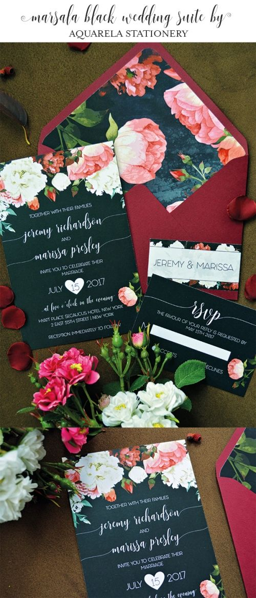Marsala Black invitation, burgundy, Marsala Floral Wedding Invitations, Watercolor Wedding Invite, Marsala Wedding Invite, Burgundy and Blush Floral Invites, Watercolor Flower Wedding Invites, Floral Wedding Invitations, Watercolor Wedding Invitations