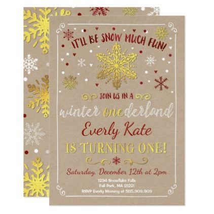 Winter Onederland Birthday Invitation Red  Gold  Invitations
