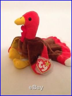 472fb9b5338 RETIRED RARE GOBBLES 1996 Ty Beanie Baby Swing Tag ERROR