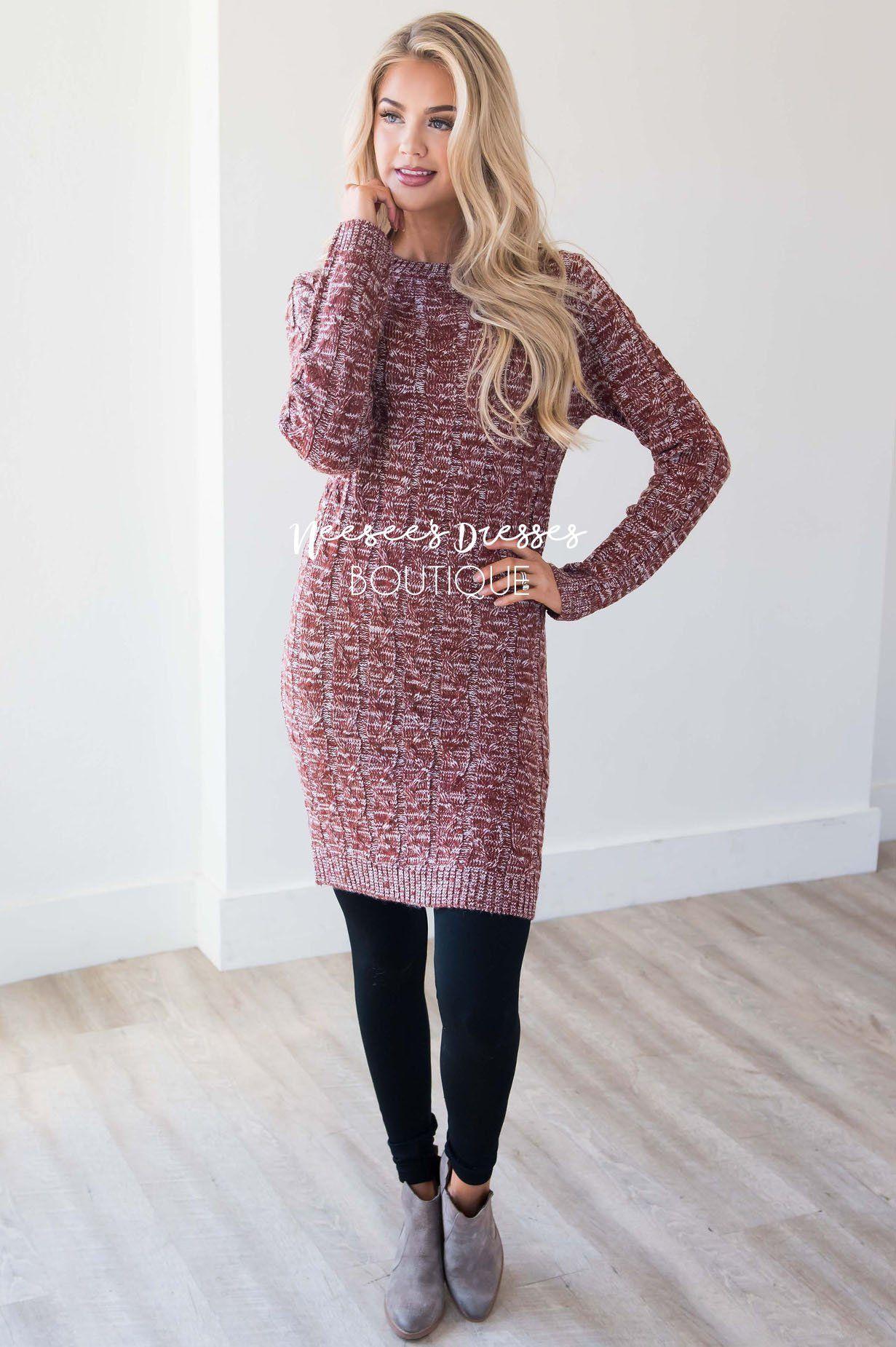 ef305368a7c Rust Long Sleeve Sweater Dress Modest Church Dress