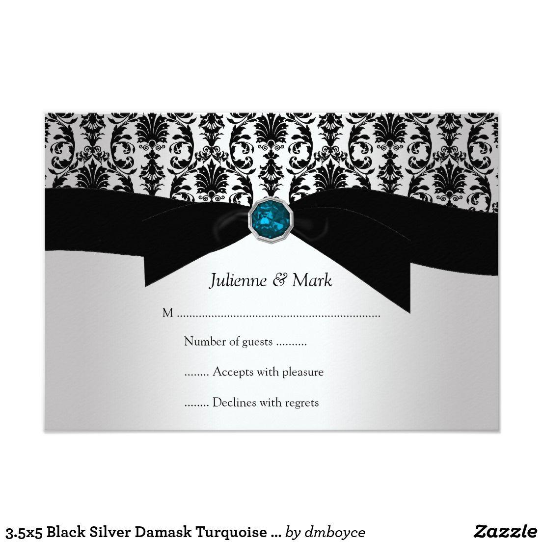 3.5x5 Black Silver Damask Turquoise Jewel RSVP | { Wedding ...