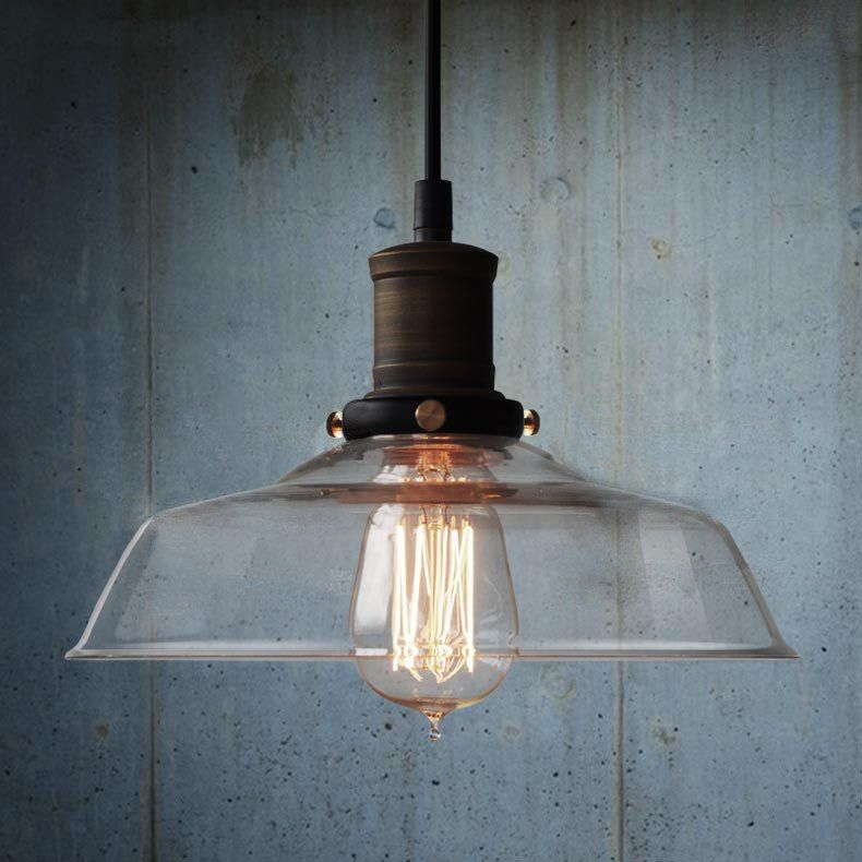 Retro Industrial Pendant Light With Glass Shade In 2019