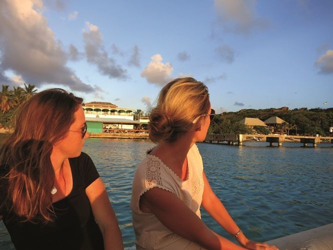 Girls take a Grand BVI Charter Boat -