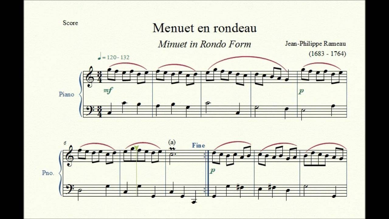 menuet en rondeau minuet in rondo form jean philippe rameau piano [ 1280 x 720 Pixel ]