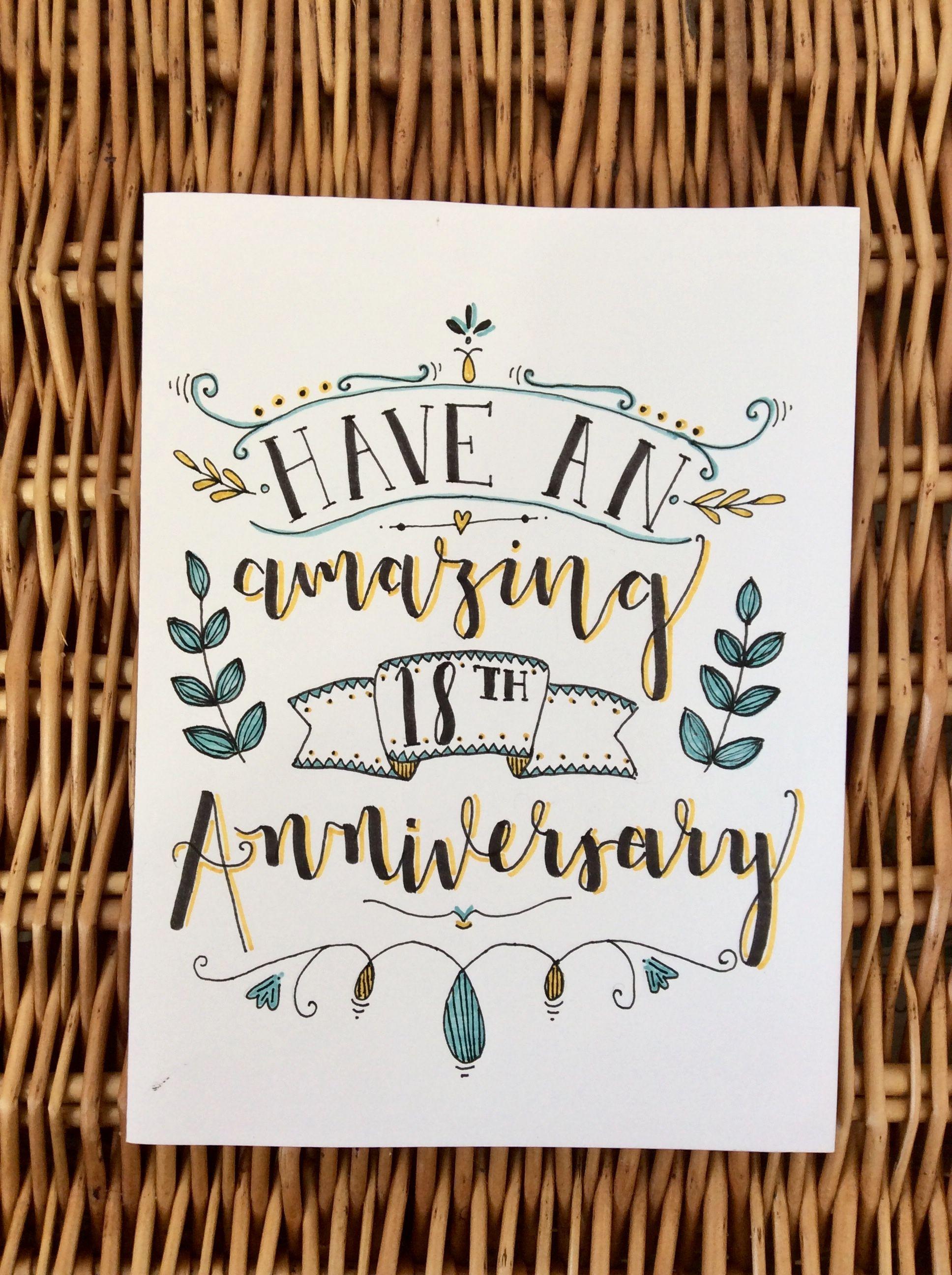 18th anniversary card in 2020 Anniversary cards handmade