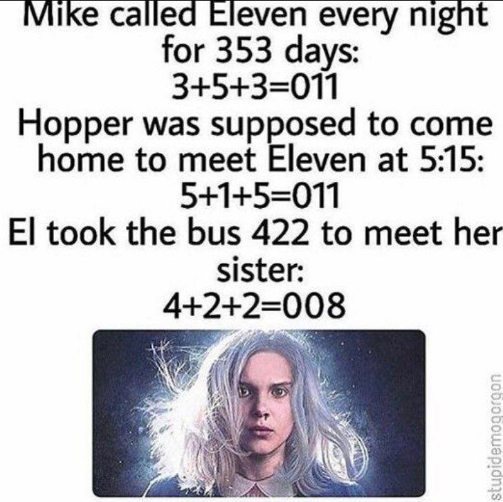 """Admin Team on Instagram: """"Mind blown! #numerology #strangerthings #hawkins #mikewheeler #eleven #milliebobbybrown #finnwolfhard #chiefhopper #davidharbour #kali"""""""