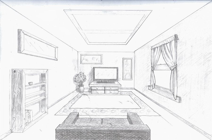 Room in perspective single point perspective room by a for Drawing room design pictures