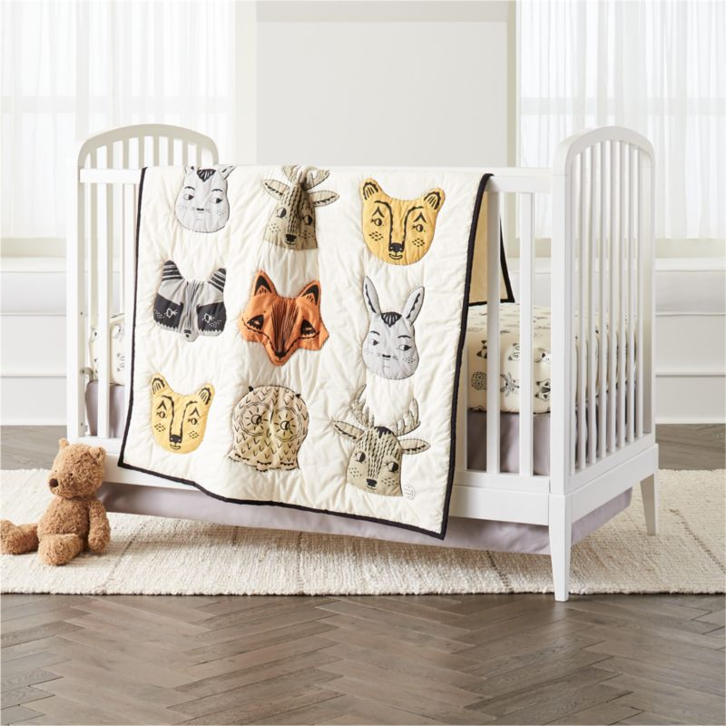 Shop Roxy Marj Woodland Animal Crib Bedding A Crew Of Fanciful Forest Critters Including Foxes Raccoo Animal Crib Bedding Crib Bedding Boy Animal Baby Quilt