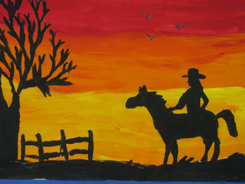 Sunset Silhouette Painting 12X18 Art Teacher