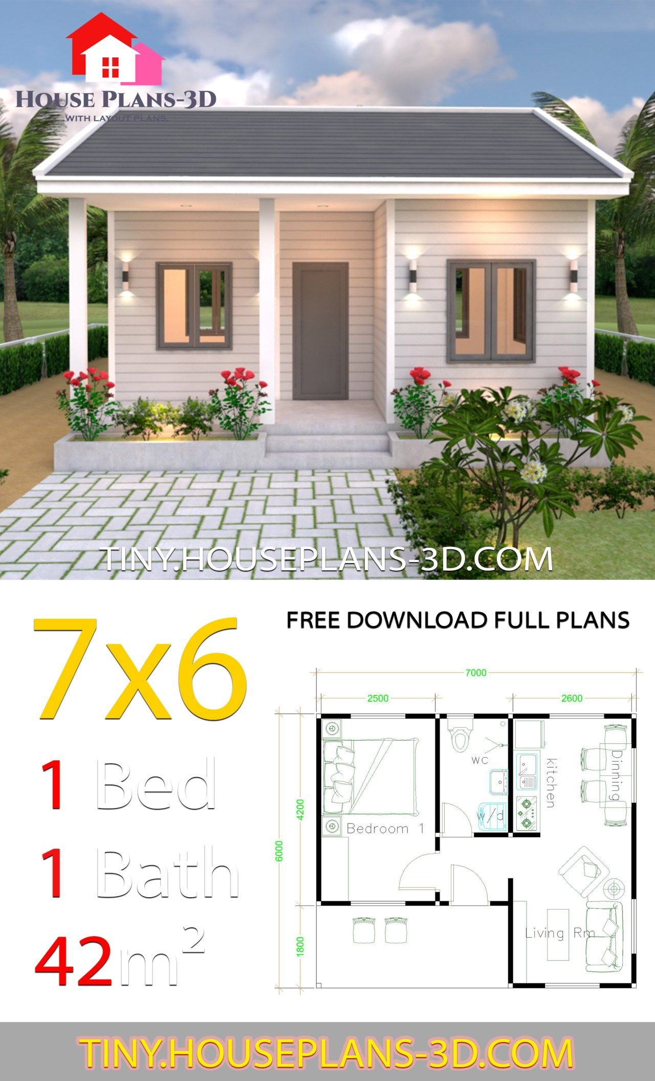 7x6 With One Bedroom Gable Roof With Images Small House Design