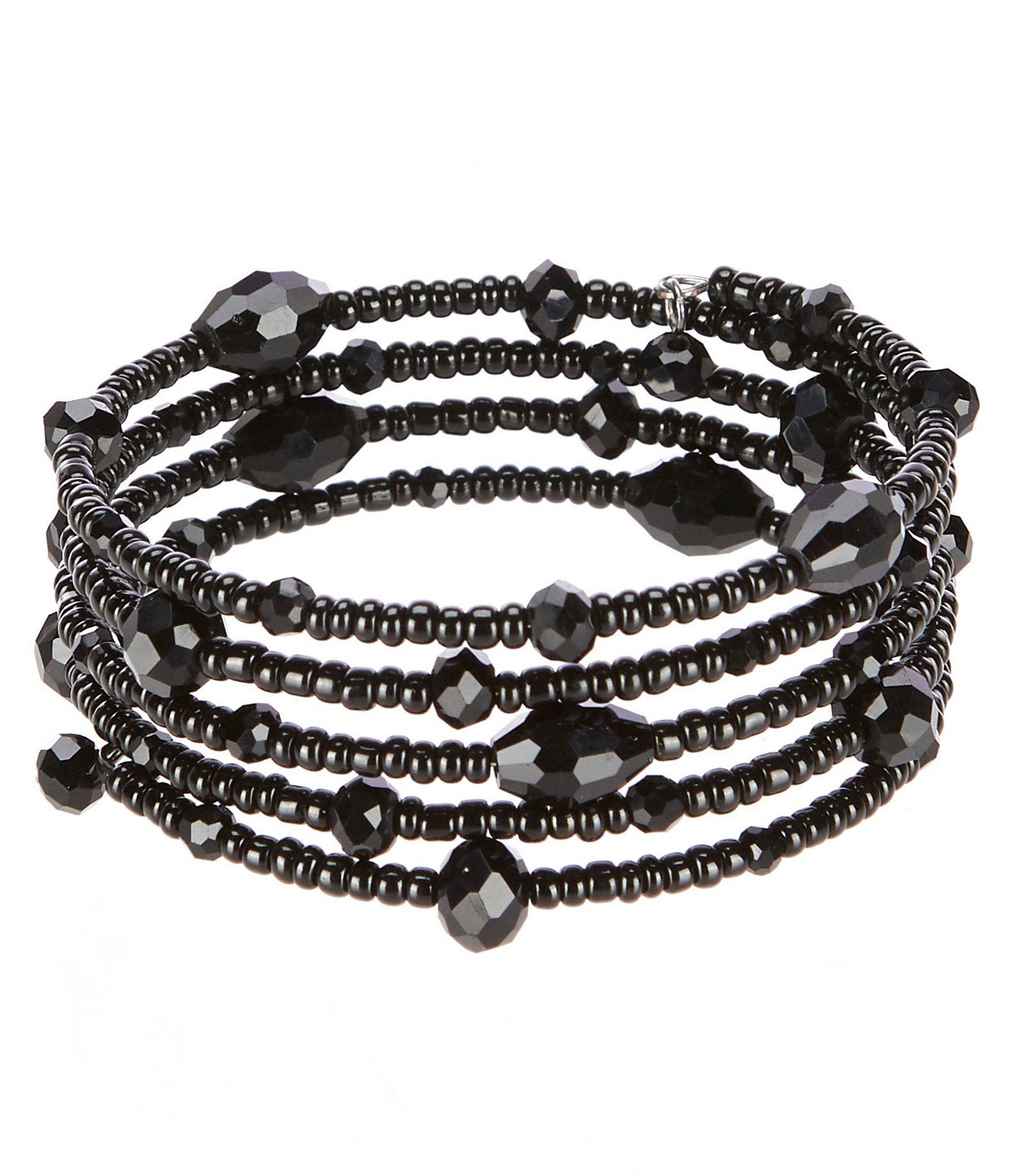 Gemma Layne Jet Bead Coil Bracelet - Jet N/A