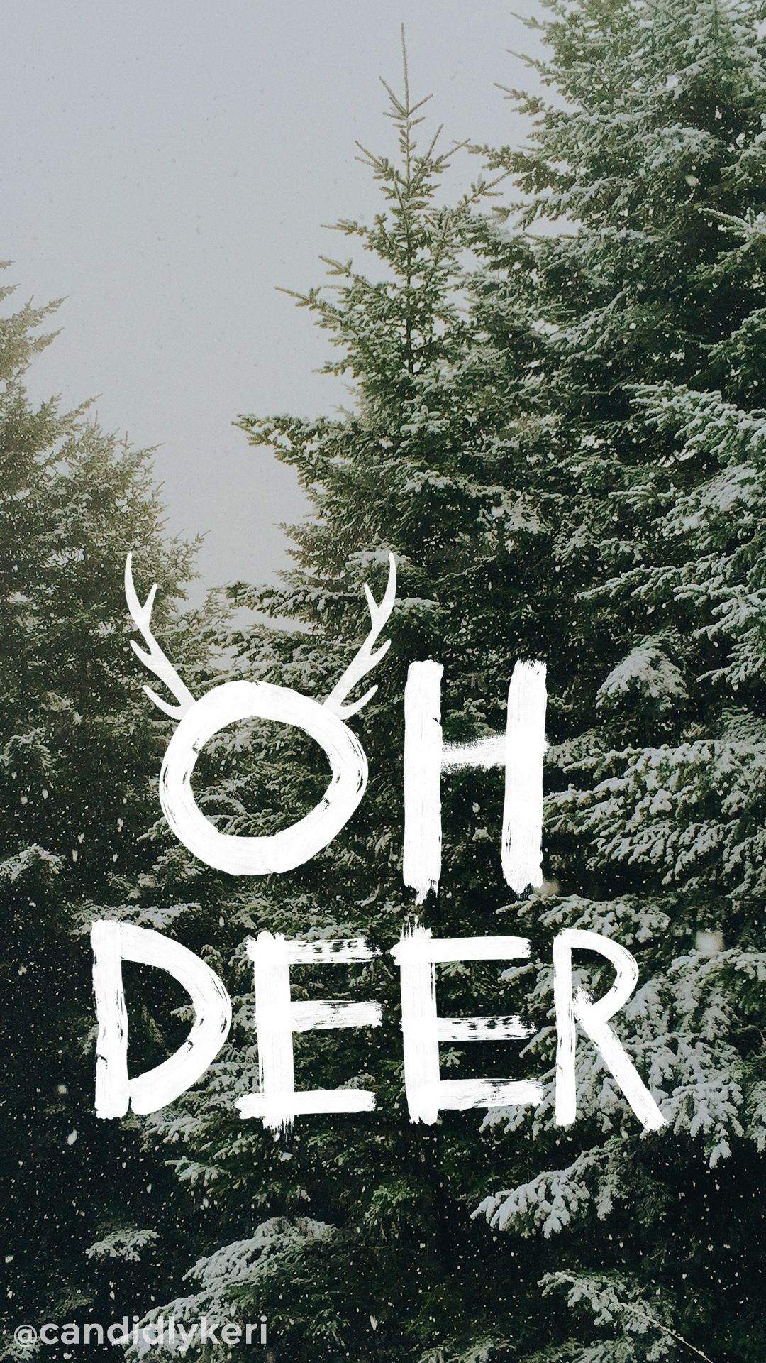 oh deer snowy trees christmas tree cute background wallpaper you can