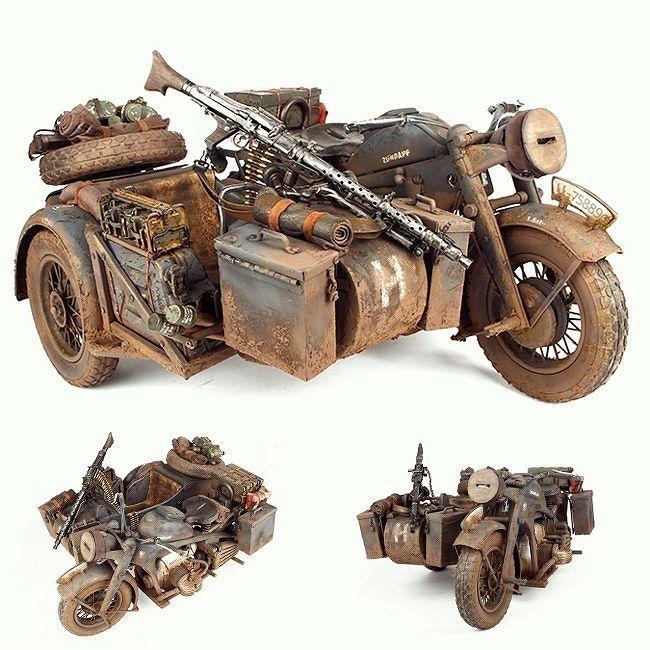 WW2 WWII German 8 Mini Figure Cannon officier moto side-car Guerre mondiale 2 II