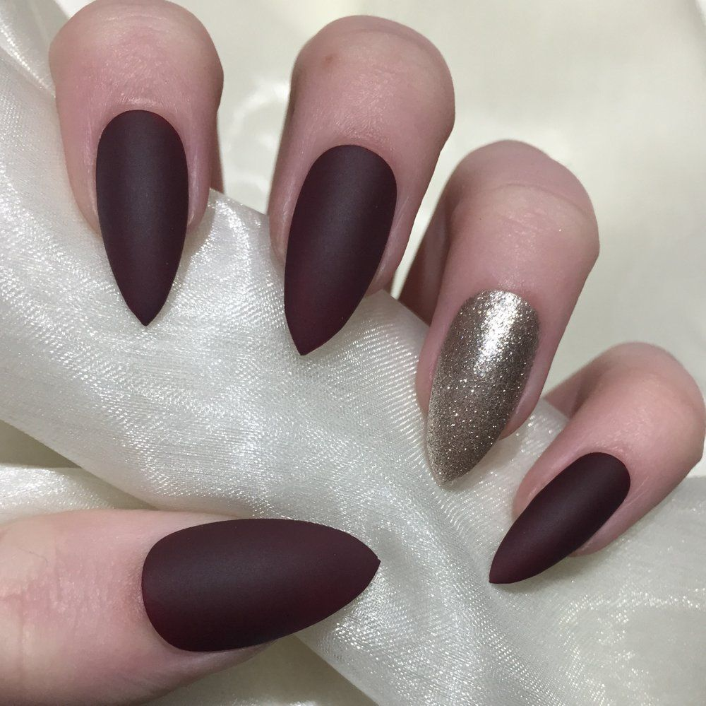 Image Of Matte Burgundy And Champagne Glitter Sparkly Nails Stylish Nails Designs Coffin Nails Designs