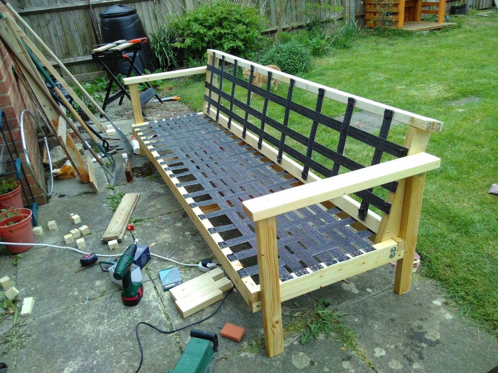 Building A Sofa Using Cheap 2x4 And Webbing. Build Cost So Far £50.