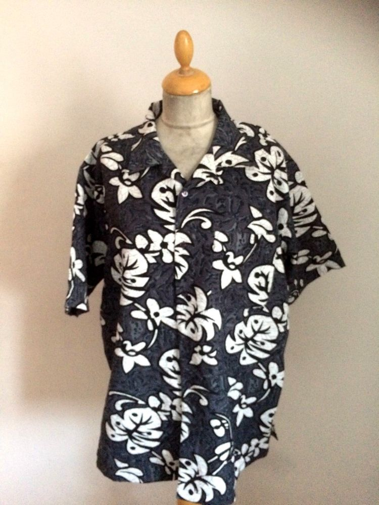 59866af6 1950s Style Rockabilly Hawaiian Floral Shirt Size XL chest 48 #BBCouture # Hawaiian