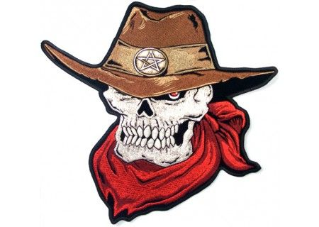 1916b915a5d90 Skull Red Scarf Cowboy Hat Embroidered Iron on Patch