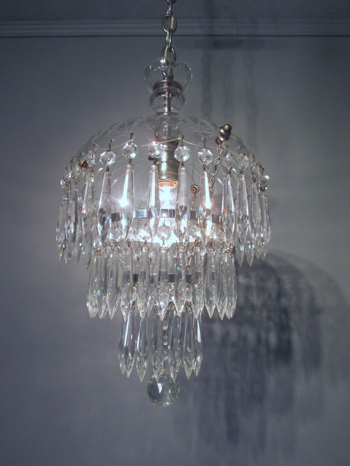 Vintage Antique 1930 S Czech Lead Crystal Chandelier Waterfall Wedding Cake 31 Long By Centuryoflighting On