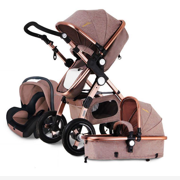 ff64b1c6d358 Details about Luxury Baby Stroller 3 in 1 High Landscape Pram ...