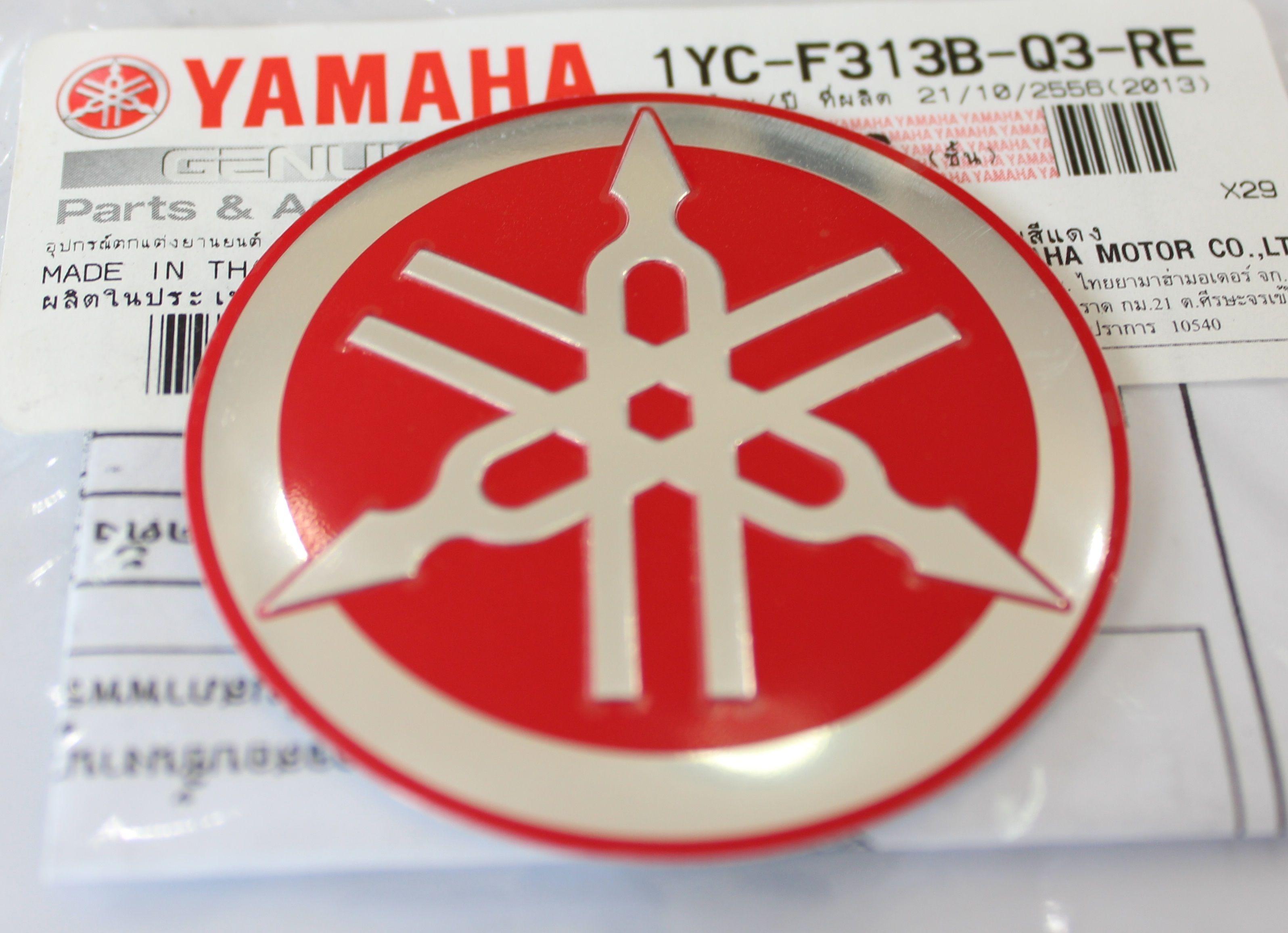 2 x YAMAHA 100/% GENUINE 40mm TUNING FORK RED DECAL EMBLEM STICKER