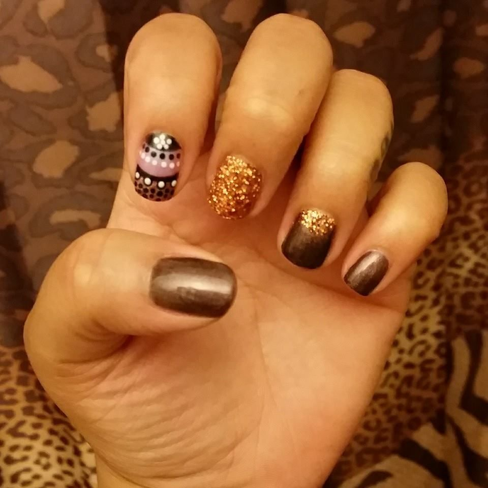 Nail Art By Kenia Glitter Polkadots Brown Nail Art Nails Spa Salon