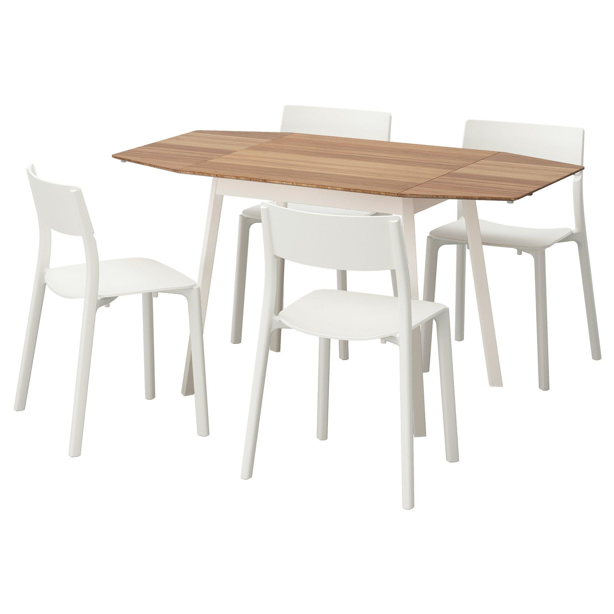 Ps 2012 Janinge Tisch Und 4 Stuhle Bambus Weiss Ikea