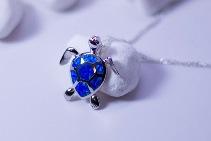 Turtle Necklace Fire Opal Necklace Ocean Necklace by MBrinstar