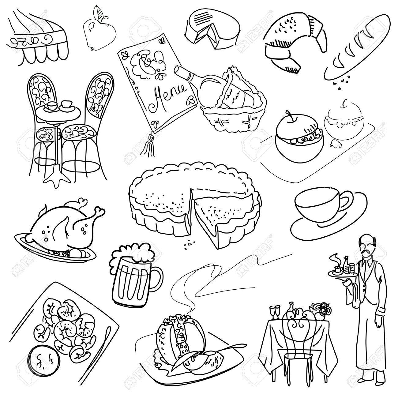 Food Doodles Elegant Cuisine Doodles Food Doodles Doodle Drawings
