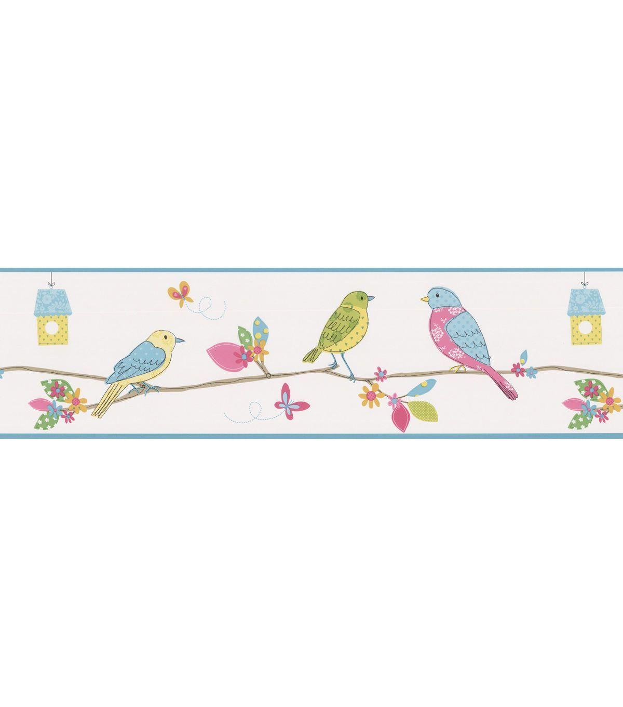 Social Birdie Border White Quilted Birds Wallpaper Border Jo Ann Brewster Wallpaper Bird Wallpaper Pink Wallpaper Border