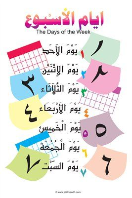 Posters The Days Of The Week Poster 4 00 From Magcloud Arabic Language Learning Arabic Learn Arabic Alphabet