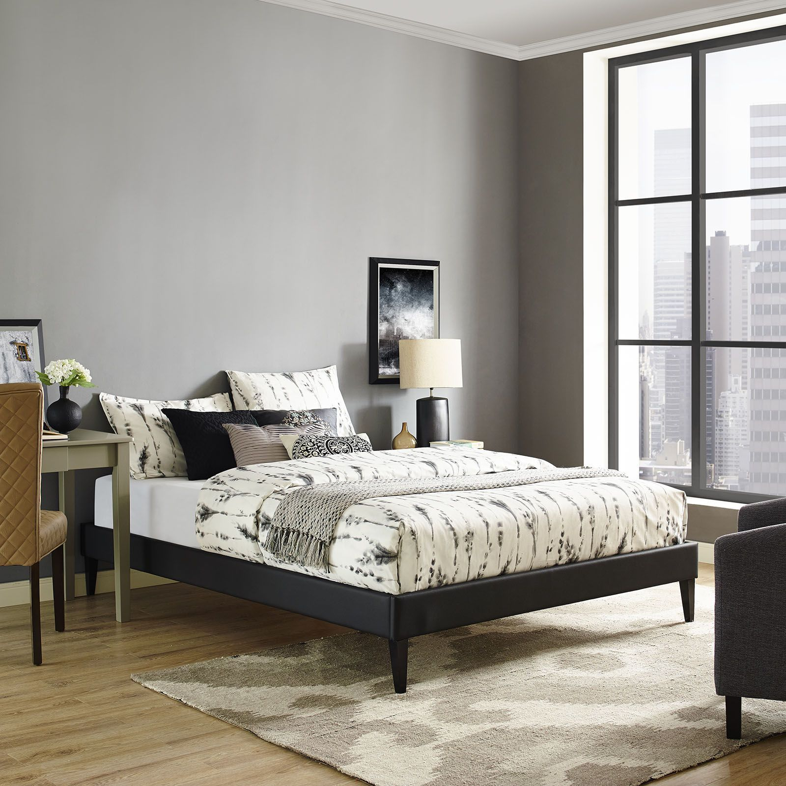 Sharon Full Vinyl Bed Frame With Squared Tapered Legs, Black   Accelerate  Your Bedroom Decor