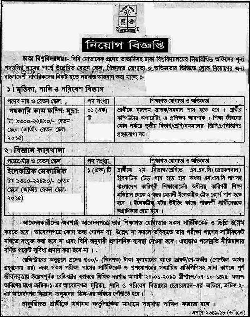 Dhaka University Job Circular 2019 [Hot job],Du foundation