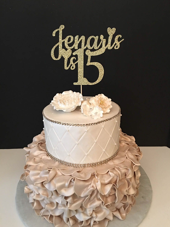 Any name number glitter 15th birthday cake topper