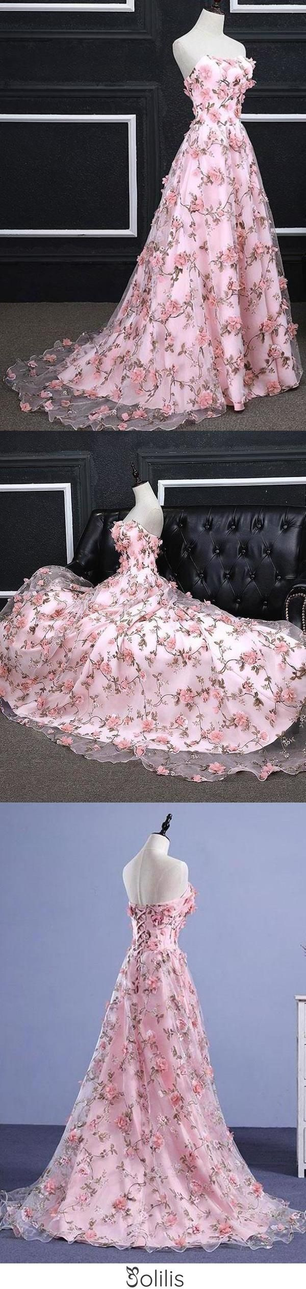Photo of Pink A-line Sweetheart Strapless Sweep Train Floral Print Long Lace Prom Dresses with flowers JS524