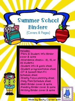 Want to finally get your summer school materials organized?  Well look no further!  Here are 4 colorful binder covers and spines.  One binder for student information, schedules, and plans.  Then one for each subject- reading, writing, and math.I have also included supporting sheets to organize student information.