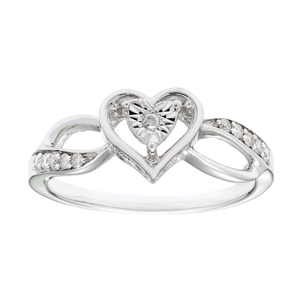 Sterling Silver 1 10 Carat T W Diamond Heart Ring Diamond Heart Heart Ring Sterling Silver