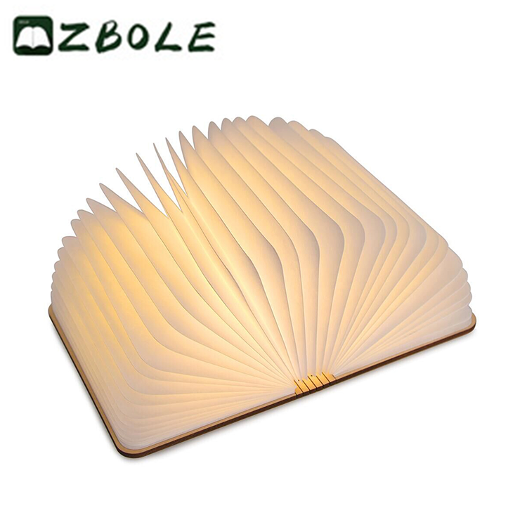 2018 Trending Products Tyvek Paper Folding Led Book Light With Wooden Cover View Book Light Zbole Product Details From Shenzhen Zhengming Science And Technolo Book Lights Paper Folding Origami Design