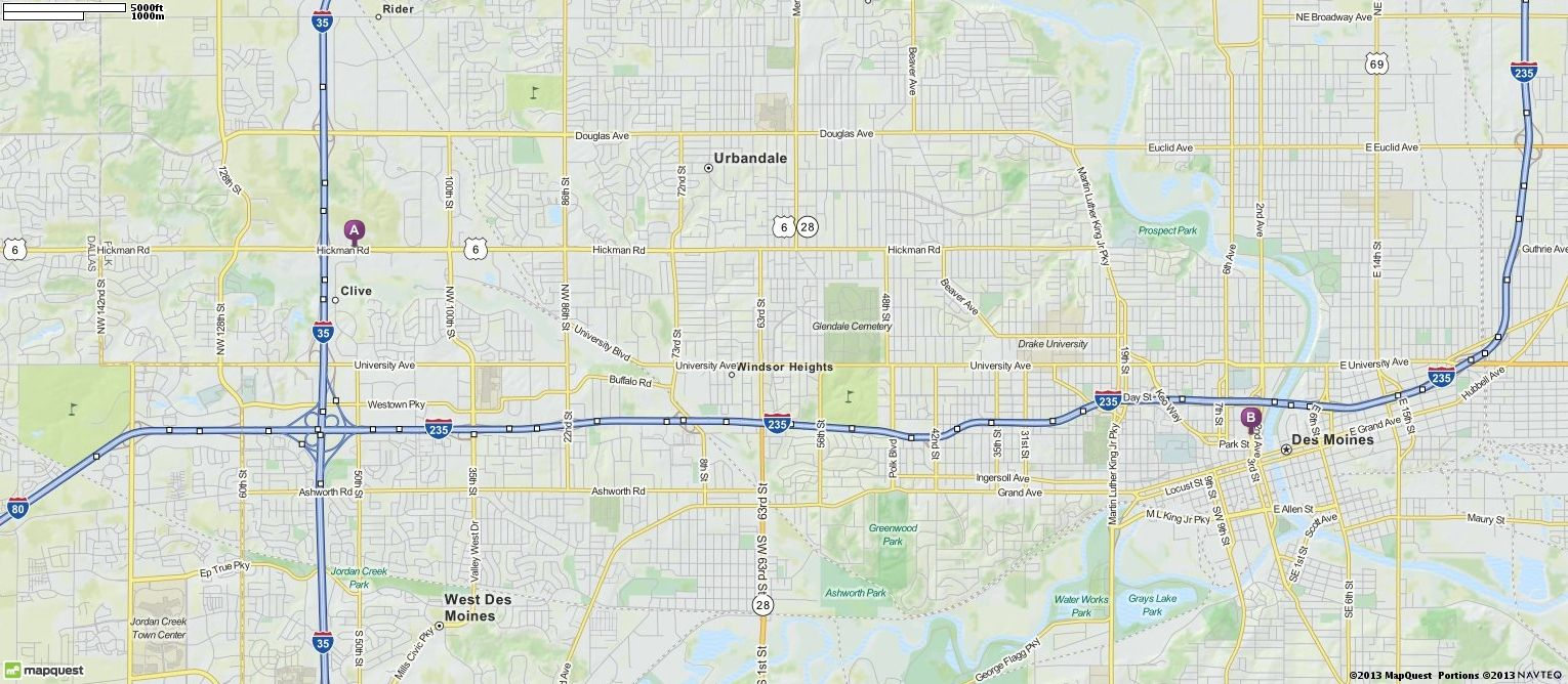 Driving Directions From  Hickman Rd Urbandale Iowa  To - Mapquest map of usa